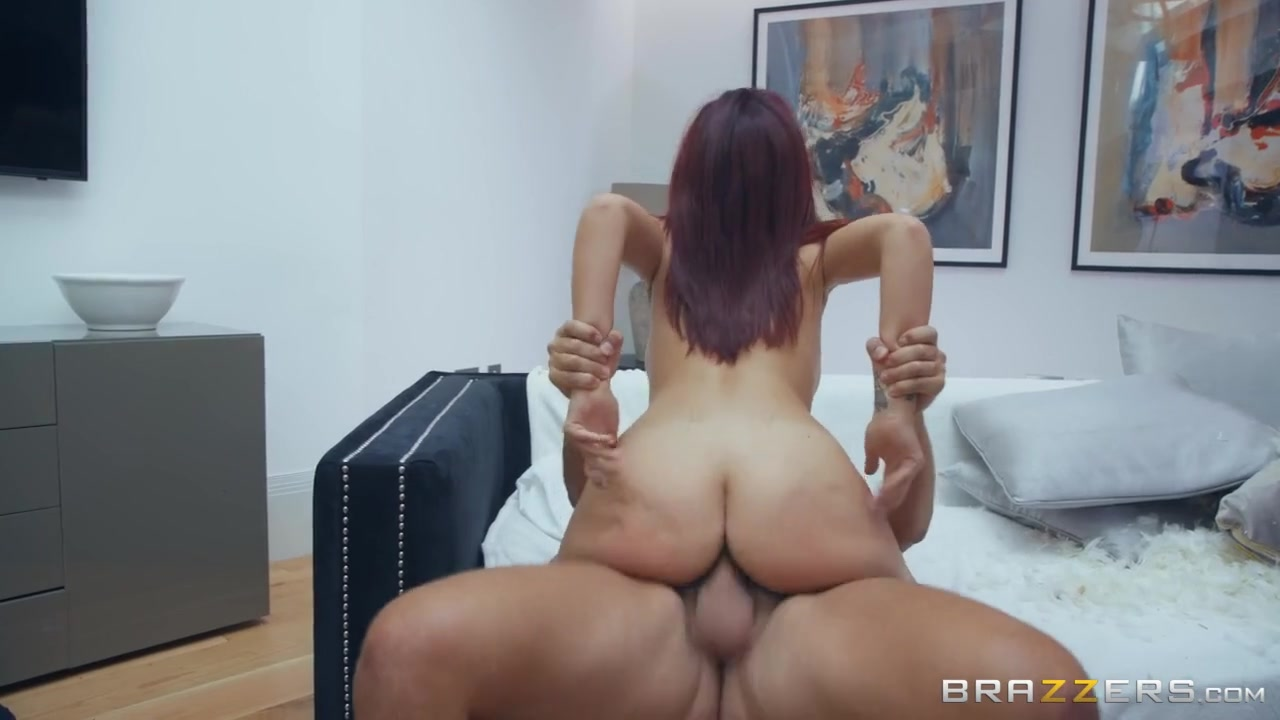 Big tits and a thick ass on a cock taking redheaded slut